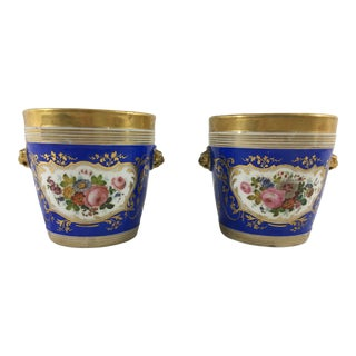 Napoleon III Old Paris Cachepots - a Pair For Sale