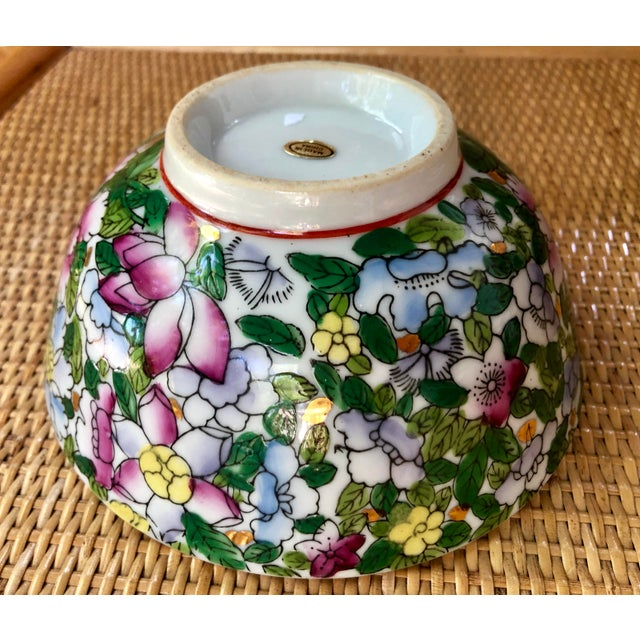 Mid 20th Century Hand Painted Pink Blue and Green Chinoiserie Floral Porcelain Bowl For Sale - Image 5 of 8