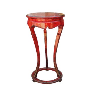 Chinese Distressed Red Tall Round Plant Stand Pedestal Table