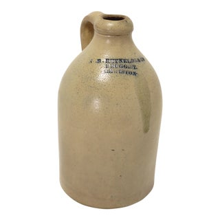 Late 19th Century Antique American Stoneware Jug For Sale