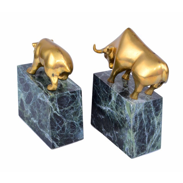 Vintage Brass Bull & Bear Bookends - A Pair For Sale - Image 10 of 10