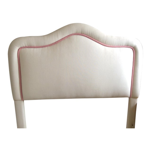 Pink & White Upholstered Headboard For Sale