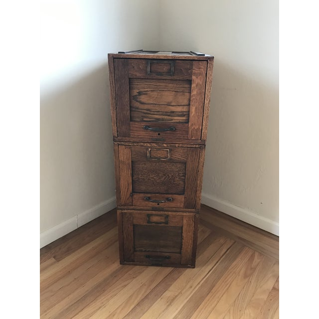 Brown Early 20th Century Amberg File & Index Co. Stacking File Cabinet For Sale - Image 8 of 8