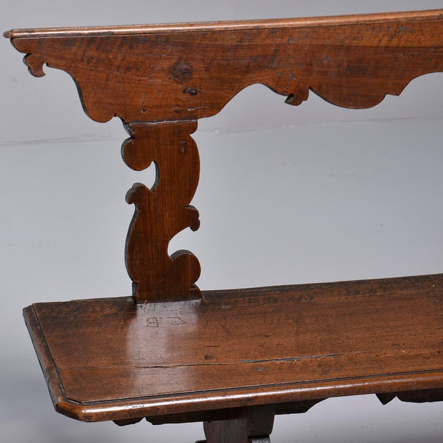 Wood 19th Century Italian Primitive Hand Carved Bench For Sale - Image 7 of 13