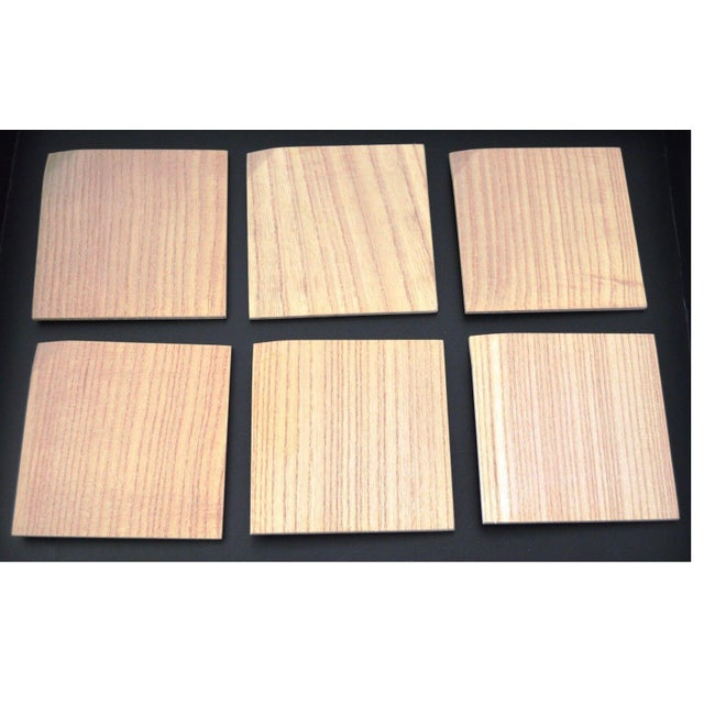 Asian Japanese Hinoki Cypress Wood Amuse Bouche Salad Dessert Small Square Plates Set of 6 Natural Organic For Sale - Image 3 of 5
