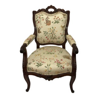 Late 19th Century Antique Victorian Carved Rosewood Chair For Sale