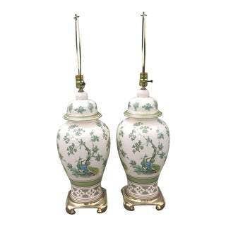 Chinoiserie Peacock Ginger Jar Lamps - a Pair