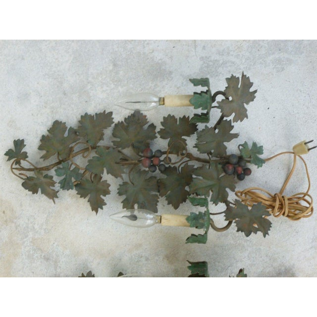 Italian Mid Century Italian Tole Sconces of Grapes and Vines - a Pair For Sale - Image 3 of 8