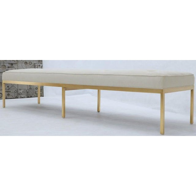 1970s Extra Long Solid Brass Base Frame Spring Loaded New Upholstery Bench Daybed For Sale - Image 5 of 13