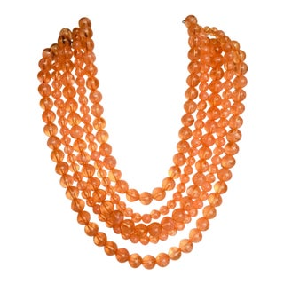 Multi Apricot Coral Beaded Necklace For Sale