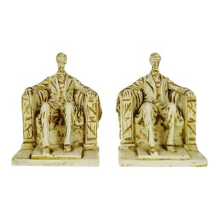 1962 Vintage Austin Productions Sculpture Lincoln Bookends - a Pair For Sale