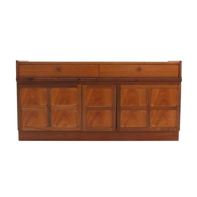 Brown Small Danish Modern Teak Credenza with Small File Cabinet For Sale - Image 8 of 8