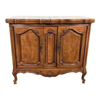 Thomasville French Provincial Burled Walnut Flip Top Server Sideboard Wet Bar For Sale