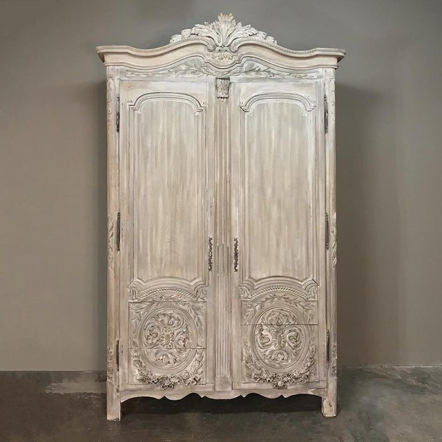 18th Century Country French Louis XVI Period Whitewashed Armoire For Sale - Image 4 of 12