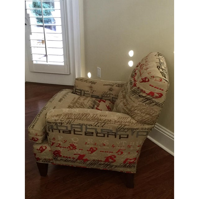 Tufted Calligraphic Upholstered Chair - Image 5 of 6