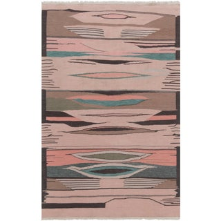 Contemporary Swedish Flat Weave Woolen Rug - 6' X 4'ft For Sale