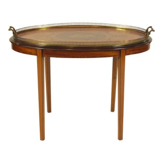20th Century Edwardian Marquetry Tray on Custom Stand For Sale