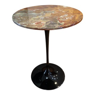Organic Modern Petrified Wood Round Tulip Base Accent Table For Sale