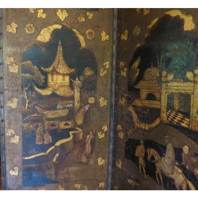 Late 19th Century 19th Century Antique Leather Screen Embossed and Gilded For Sale - Image 5 of 8