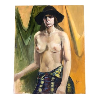 Original Vintage Female Nude 1970's Painting Signed For Sale