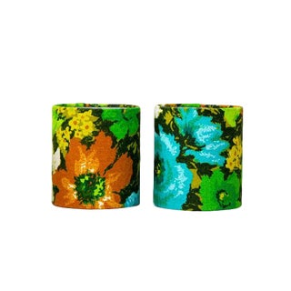 Mid-Century Modern Floral Barkcloth Clip on Sconce Shades - a Pair For Sale