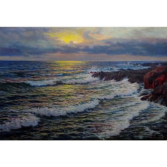 "Vartan Mahokian ""Seascape Magic Sunset"" Oil Painting C.1920s For Sale - Image 4 of 11"
