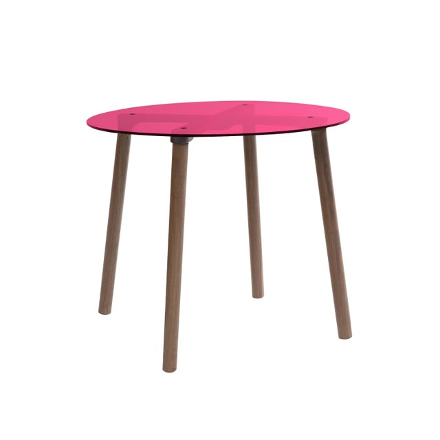 """Contemporary Ac/Bc Large Round 30"""" Kids Table in Walnut With Pink Finish Acrylic Top For Sale - Image 3 of 3"""