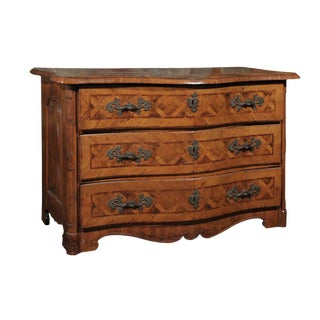 Early 18th Century Italian Period Baroque Three-Drawer Marquetry Chest For Sale