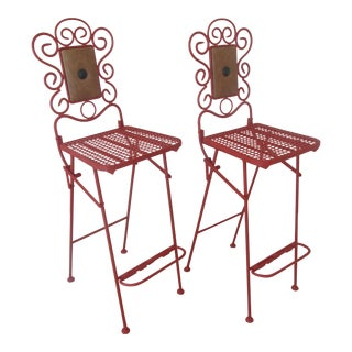 1930s Americana Collapsible Painted Steel Barstools - a Pair For Sale