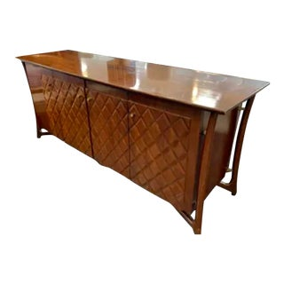Amsterdam Furniture Company Mid-Century Modern Edmund Spence Style Wood and Brass Dresser For Sale