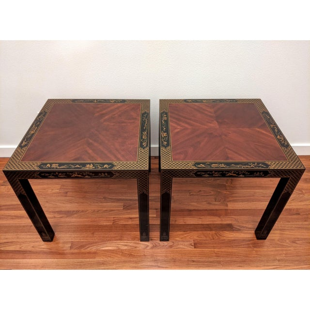 1980s Parsons Chinoiserie Side Tables, a Pair (Drexel - Et Cetera Collection) For Sale - Image 12 of 12