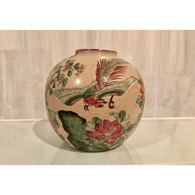 Chinoiserie Vintage Chinoiserie Vase Floral and Bird Motif on a Peach Background For Sale - Image 3 of 6