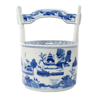 Blue and White Chinese Ceramic Wishing Well / Planter For Sale