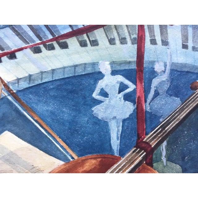 Vintage 1950's Watercolor Painting MusicViolin Trumpet Keyboards - Image 9 of 9