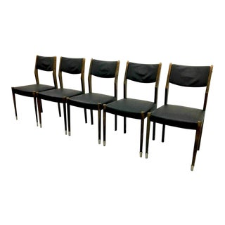 Set of 5 Mid Century Modern Danish Design Moller Style Vintage Dining Chairs For Sale