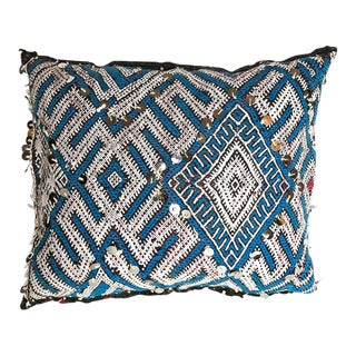 "Vintage Moroccan XL Evil Eye Sequined Pillow - 17"" X 15"" For Sale"