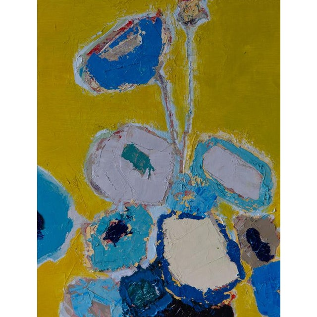 """Bill Tansey """" Blue Blue """" Abstract Floral Oil Painting on Canvas For Sale - Image 4 of 6"""