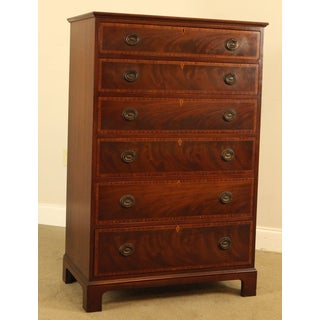 Baker 1940s Vintage Mahogany Inlaid George III Style High Chest Preview