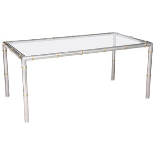 Hollywood-Regency Style Faux-Bamboo Rectangular Dining Table in Aluminum and Brass