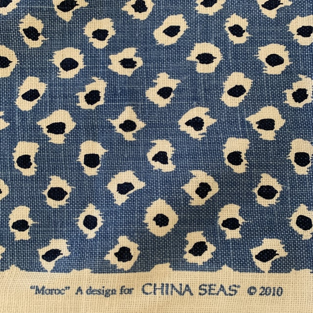 """Quadrille China Seas """"Moroc"""" Blue Animal Print Heavy Weight Linen Fabric- 2 3/4 Yards For Sale - Image 4 of 6"""