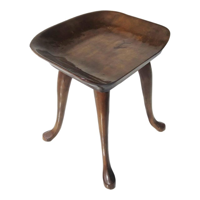 1960s Free-Form Carved Walnut Stool by Jean of Topanga For Sale
