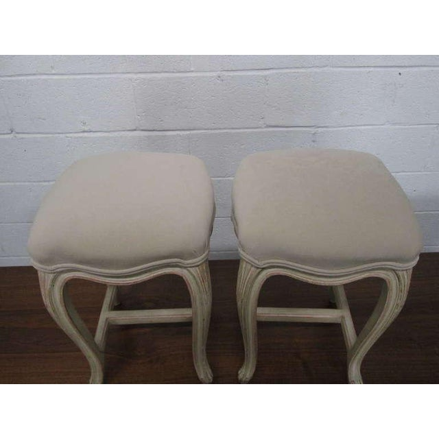 1960s Pair French Painted Upholstered Stools For Sale - Image 5 of 5