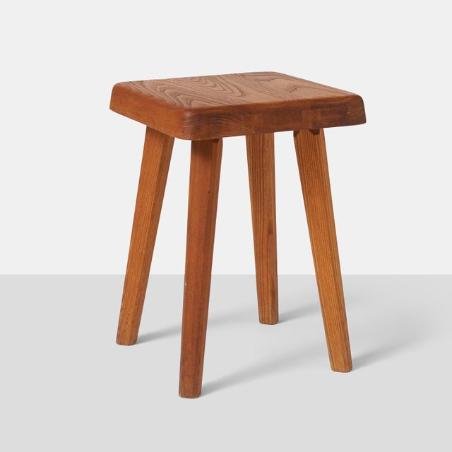 Mid-Century Modern Stools by Pierre Chapo Model S01A - a pair For Sale - Image 3 of 7