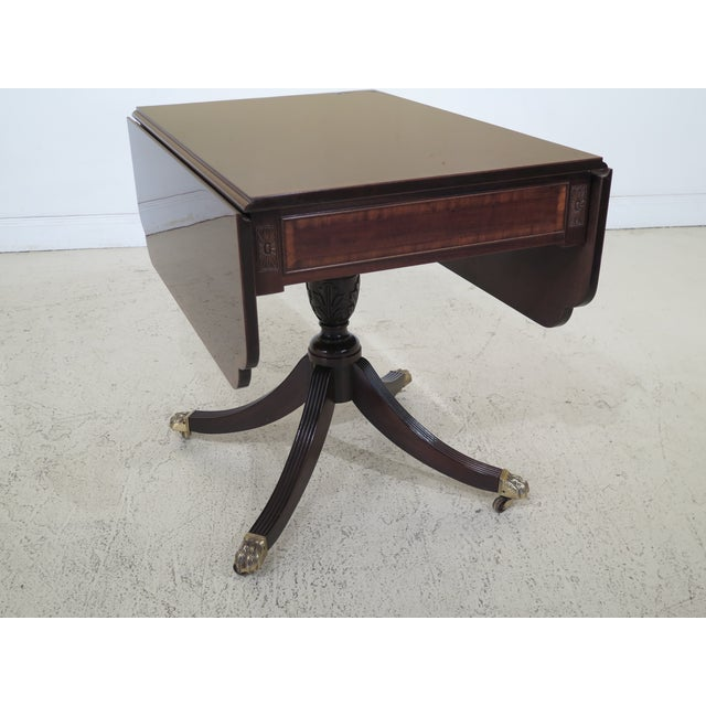 1990s Federal Drop Leaf Mahogany Duncan Phyfe Large 1 Drawer Occasional Table For Sale - Image 11 of 12