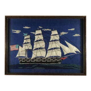 Large Framed Sailing Ship Needlepoint For Sale
