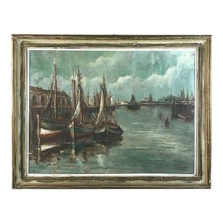 Antique Framed Oil Painting on Canvas by A. Singler For Sale