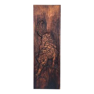 1970s Vintage Wood Carved Tiger For Sale