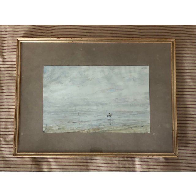 Blue Early 20th Century Edwardian Style Fishermen Scene Oil Painting by Julius Seyler, Framed For Sale - Image 8 of 8