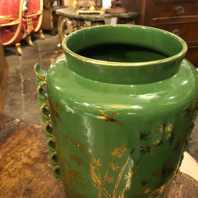 Mid-Century Modern 1960s Italian Mid-Century Modern Green and Gold Ceramic Vase For Sale - Image 3 of 13