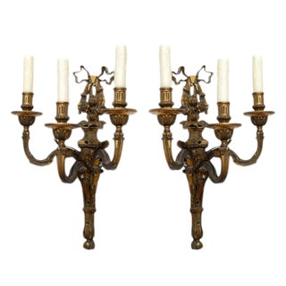 Neoclassic Style Hand-Cast Bronze Three-Light Sconces, America - a Pair For Sale